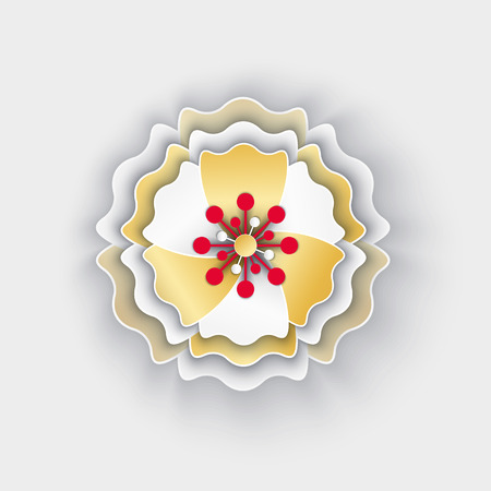Flower paper with petals blossom origami style isolated icon vector. Asian style decoration for celebration of sprint holidays, floral decor made of papers  イラスト・ベクター素材