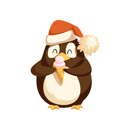 Cute Arctic penguin in Santa hat with ice cream. Wild bird with dessert in waffle cone. North pole animal with Christmas accessory and food vector.