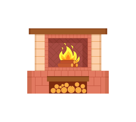 Fireplace with logs in special container isolated icon vector. Fire with burning wooden material, branches in flame. Furniture interior of house decor