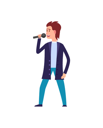 Music performance, male singer wearing suit isolated vector. Man in formal wear singing, moving dancing character with microphone, person vocalist Illustration
