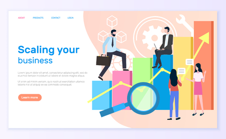 Scaling business, graphic or chart and entrepreneurs. Statistics and analytics, businessman and businesswoman, magnifier and economic growth. Website or webpage template, landing page in flat style Иллюстрация
