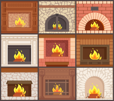 Fireplaces set different shapes and types of stoves vector. Furnaces made of stone, redbrick or wooden material, burning logs, classic style of decor Ilustração