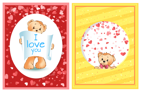 Teddy bear with recognition of love and peeking out from circle decorated by hearts. Valentine colorful postcard, toy with pink bow cartoon character vector Ilustração