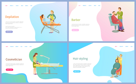 Depilation and cosmetician, barber and hair styling web page, sitting client and working master. Beauty salon website with links, spa procedures vector. Template landing page in flat style
