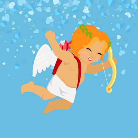 Cheerful Cupid holding bow, Valentines Day. Little boy Amour with wings isolated on blue vector cartoon. Festive romantic postcard with angle and hearts