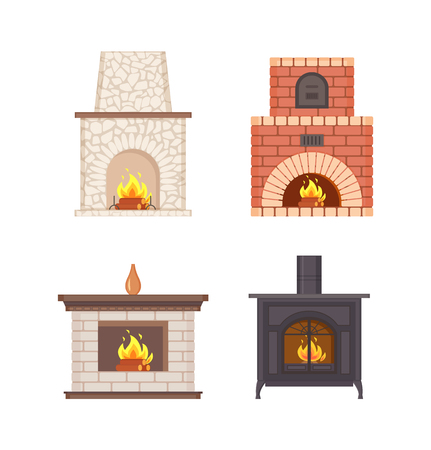 Fireplace with wooden shelf and vase on top vector isolated icons set. Bricks and stones pavement, installed furnace stove made of metal iron vintage