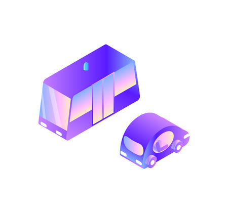 Smart car and modern public transport isolated icons vector. Transportation vehicles with doors and siren, electric automated innovative driving system