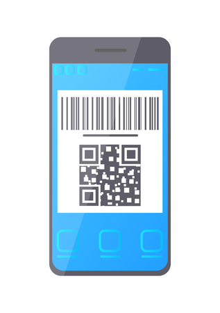 QR barcode, smartphone screen monitor vector. Icon information about product, identification of item at online shop symbol with encoded digital info
