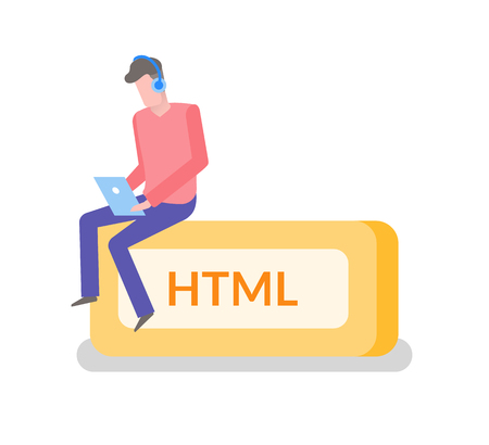 HTML language freelancer man working on laptop coder coding vector. Isolated male wearing headphones and typing info on laptop. Programmer sitting on box Illustration