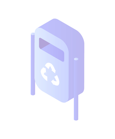 Bin made of metal material, container for garbage vector. Isolated icon of construction with hole for disposal and sign of recycling. Ecological issues