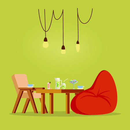 Restaurant with table full of food sweets meal vector. Seat for kids, fluffy puff, lightbulb with wires, drinks with strawberry and mojito, ice cream