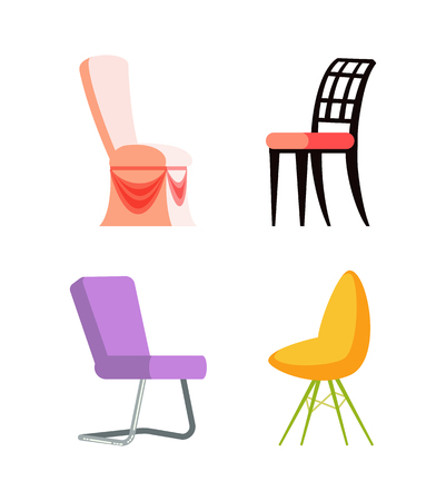 Wood and metal, plastic set of colorful chairs, place for sitting, element of furniture. Design and style of seat, side view of object on white vector
