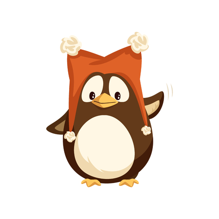 Cheerful standing penguin in funny hat with furry balls and waving hand. Animal in big red cap with pompons in flat style isolated on white vector 向量圖像