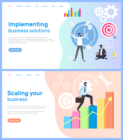Scaling business and interpreting solution for company vector. Workers with aim targets male achieving success charts and diagrams, implementing decisions. Webpage template, landing page in flat style