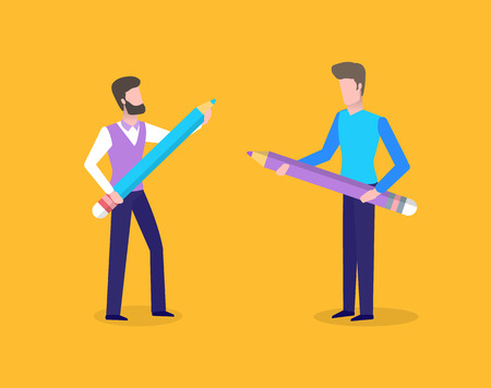 People holding big wooden pencil with erasers vector. Person studying, males with friend wearing formal wear, students ready to write thesis and essay Illustration