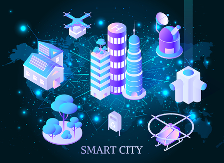 Smart city skyscrapers with helicopters poster vector. Satellite and network between infrastructure of town. Futuristic architecture and lights lines