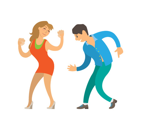 Dancing people at party isolated dancers clubber vector. Couple hobby, man and woman moving bodies on sounds of music song. Happy adults relaxing Illustration