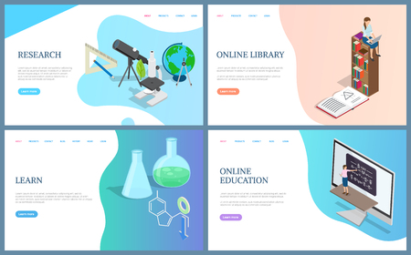 Online library and education research and learning. Free access to knowledge and books, chemistry publication and experiments, biology supplies. Website or webpage template, landing page in flat style 일러스트