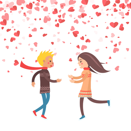 Happy couple running to each other, vector hearts of paper isolated on greeting card. Engagement of lovers dating girlfriend and boyfriend, Valentines day Illustration