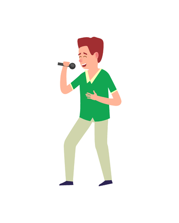 Music performance man expressing his feelings vector. Emotional singer on stage with microphone, person using mike and gesturing on concert male with mike