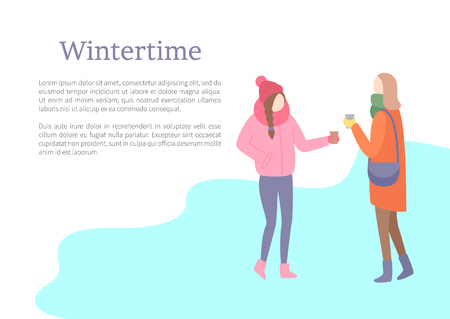 Wintertime season female friends talking outdoors vector. People wearing warm clothing, jacket hats and scarf, knitted clothes put on women with bags