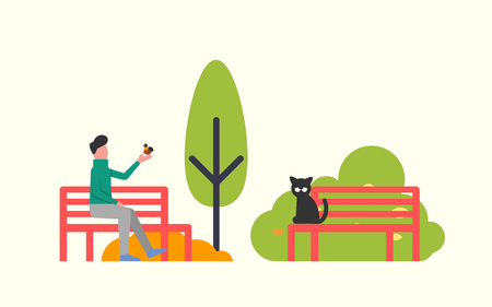 Man sitting on bench and holding bird in hands. Black cat on wooden seat in park. Autumn landscape, green trees, vector in flat design isolated