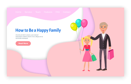 How to be happy family grandfather and granddaughter vector. Website with text sample, elderly man with child holding bag satchel of kid with balloons. Webpage template, landing page in flat style Foto de archivo - 116764624