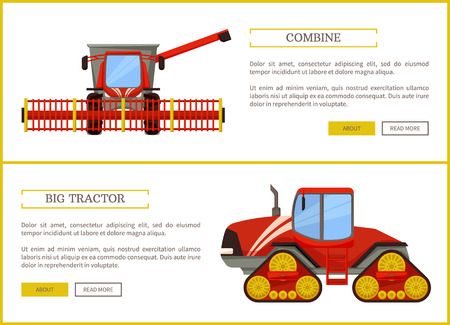 Combine and tractor agriculture vehicles for farming. Farm devices and machinery for field and crops harvesting. Transports used in husbandry vector