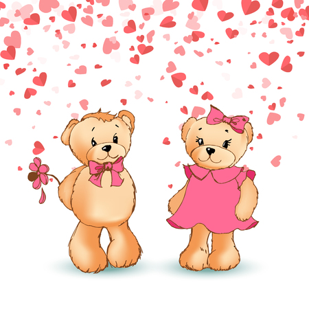 Teddy boy holding flower to girl, festive card with hearts. Bears toys with pink bows, cartoon character vector. Boyfriend and girlfriend Valentine day