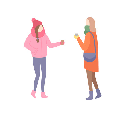 Woman friends talking discussing problems at street vector. Cold weather outdoors female girlfriends wearing warming clothes hats and jackets trousers
