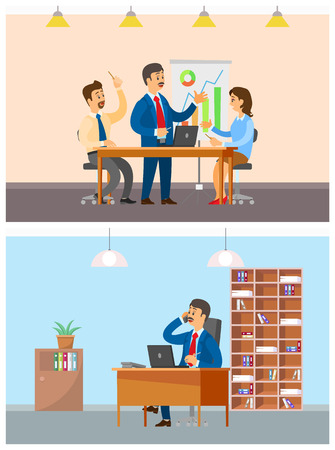 Boss businessman and employer on team meeting vector. Director talking on mobile phone with clients and partners, sitting in office chair of workplace