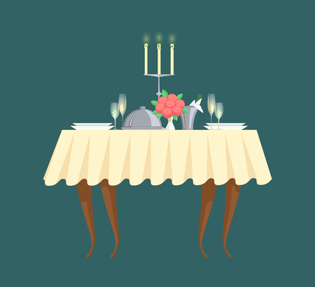 Restaurant table with candlestick and cutlery vector icon. Plates with glasses and bouquet, champagne in bucket with ice, romantic dinner or banquet