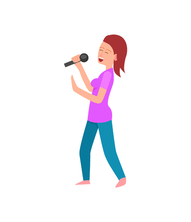 Singing lady holding microphone woman with mike vector. Musician entertaining people, personage with mic, hobby of female performers song on stage Foto de archivo - 125315423