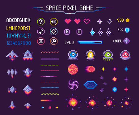 Space pixel game isolated vector icons font and cosmic characters. Arrows and hearts spaceship and aliens stars and planets, score points and meteorite. Arcade games elements. Video platform interface