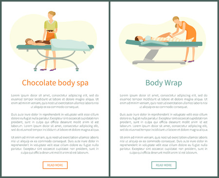 Chocolate body spa and legs wrap done by experienced cosmetician in spa salon vector web online posters. Procedure of wrapping to get rid of cellulite