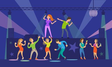 Music singers performing in night club nightlife vector. People with microphones dancing and singing songs, stage with lights and disco ball decor Illustration