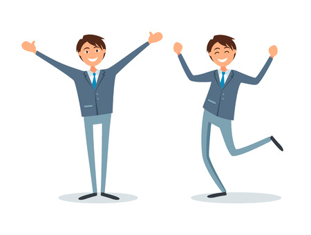 People happy with achievements, lucky businessman flat style vector. Worker with smile on face, successful managers jumping, leaders smiling celebrating