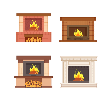 Fireplaces with wooden logs isolated icons set vector. Electric type of furnace, warming heating system decorated with bricks and classic columns