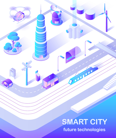 Smart city skyscraper and public bus on street vector. Transportation of passengers, buildings infrastructure of modern town with windmills and copters