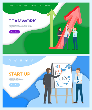 Teamwork business promotion whiteboard with plans and charts vector. Startup of company explanation of businessman to worker, partners with ideas. Website or webpage template, landing page flat style 向量圖像