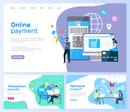 Technical support and online payment, transaction services vector. Computer monitor and smartphone, laptop and operators in headphones, global network. Website template, landing page in flat style