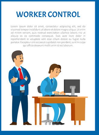 Worker control, boss leader of company and worker vector poster. Programmer at table of working place, director checking process and controlling every step