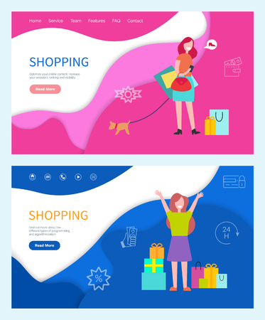 Shopping good day girls with bags. Smiling and running women in green and orange t-shirt and blue and purple skirt with dog vector web pages templates. Website landing page in flat style