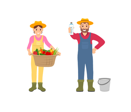 Woman and man with products set of isolated icons vector. Farmer with bucket and milk in package, lady with basket and vegetables veggies harvest Illustration