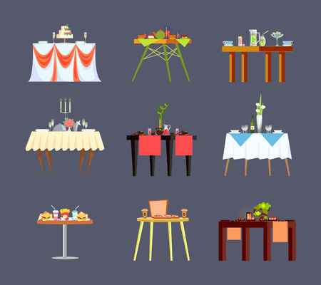 Restaurant tables with drinks and fastfood isolated vector icons. Banquet or wedding furniture, cake and fast food, tea and alcohol, cutlery on tablecloth Illustration