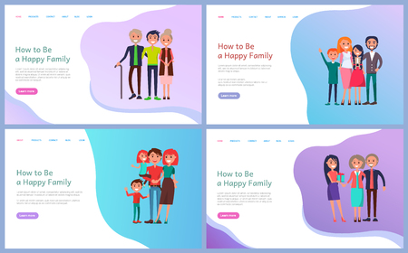 How to be happy family web page decorated by smiling parents and children vector. Portrait view of mother and father embracing cheerful daughter and son. Website template, landing page in flat style
