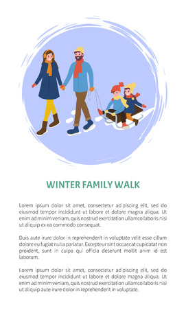 Winter family walks, father mother and children vector. Kids sitting on sledges, seasonal activities, parents with offsprings on sleigh, sleds fun