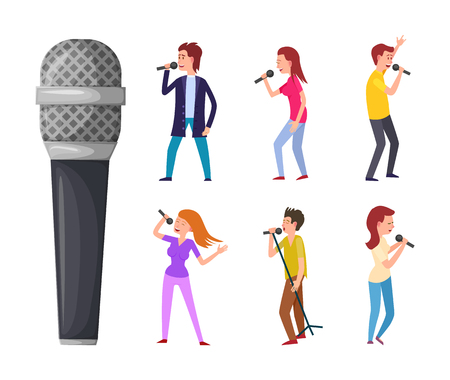 Men and women singing, microphone and singers isolated vector characters. Pop artists or performers, celebrities sing songs and musical electric device