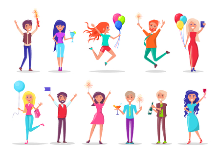 Girls and guys with balloons and gifts, birthday celebration vector. Men and women, firework and cocktail, sparkler and card, package and flag, champagne
