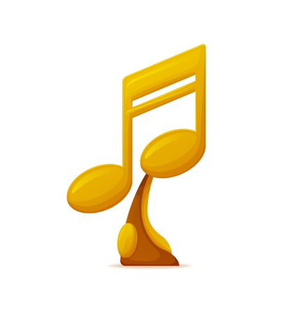 Music award vector, gold trophy in form of note isolated icon. Nomination special prize for winner of contest, best song reward. Musical show challenge